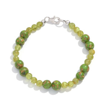 Peridot and Howlite Sterling Silver Bracelet