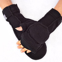Black Convertible Mittens, Xmittens Fingerless Gloves, Recycled Fleece