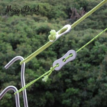 MagiDeal Professional Aluminum Alloy 3 Holes Rope Stopper Tightener Tensioner Adjuster Camping Hiking Tent Tarp Gear 34 x 14mm