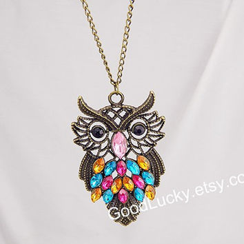 Necklace,Owl necklace,vintage style Necklace,jewelry necklace,colorful crystals necklace