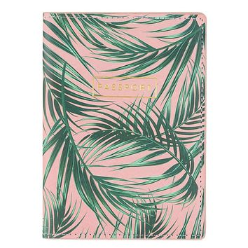 Tropical Palm Fronds Passport Case with Gold Text