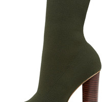Steve Madden Capitol Olive Knit Mid-Calf High Heel Boots