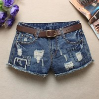 Summer women low waist jeans flash light blue denim shorts female hole Sexy Punk Rivet Women Short Jeans 2017