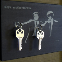 "SALE Key Holder PULP FICTION Key Holder & Wood Mounted Wall Art. Samuel L Jackson Travolta ""Keys Motherf*cker"". Avail w/out Tex"