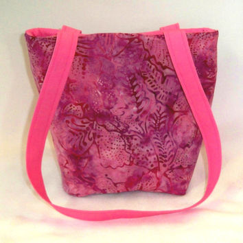 Purse, Pink Batik Purse, Small Tote Bag, Cloth Purse, Pink, Purple, Batik, Leaves, Handmade Handbag, Fabric Bag, Teen Purse, Shoulder Bag