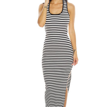 Borderline Maxi Dress - Black/White