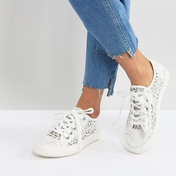 London Rebel Crochet Lace Up Sneaker at asos.com