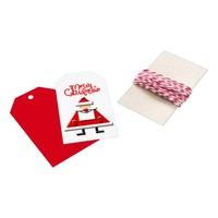 cute funny cartoon red white Santa Claus triangle Gift Tags