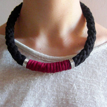 Tshirt Yarn Necklace, Cotton necklace, Fiber Necklace, Kumihimo Necklace, Black Necklace, Tshirt Yarn Choker, Cotton Choker, Fiber Choker.