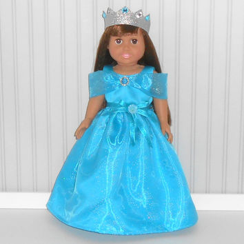 Turquoise Princess Gown and Crown Halloween Costume Floor Length for !8 inch Girl Dolls American Doll Clothes