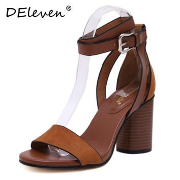 2016 New Retro Flock Square Heels Buckle Strap Leisure hasp Sexy Sandals Shoes Woman Ankle Strap Zapatos Mujer Black Brown US4~8