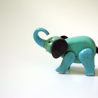 Toy Baby Elephant Aqua Blue Green  Movable by LoveButlerVintage