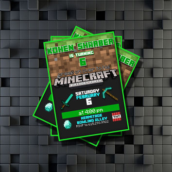 Minecraft Birthday Invitation Party