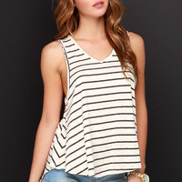 Fault Lines Grey and Cream Striped Tank Top