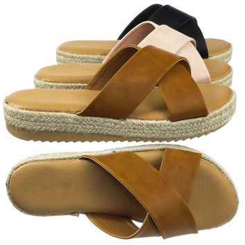 Superb02 Espadrille Jute Rope Platform Flatform Slip On Slipper w Sharktooth