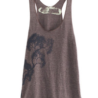 Cocoa and Slate Tree Tri-Blend Racerback Tank Top hand printed by Blonde Peacock