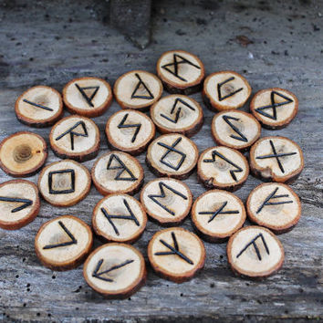 Elder Futhark handmade rune set for divination, God Odin, Nordic Asatru Viking Germanic Heathen pyrographed wooden rune set, ooak yule gifts