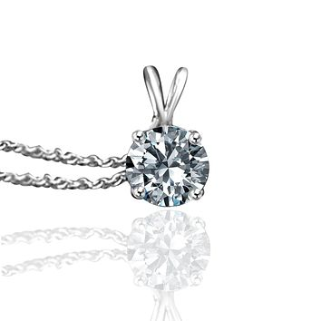 "Fine Round Simulated Diamond - Veneer Diamond hand crafted Solitaire Pendant in your choice of 14k white or yellow gold, it includes a 16"" delicate chain 635P-14k"