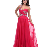 2014 Prom Dresses - Fuchsia Jewel Encrusted Chiffon One Shoulder Long Dress