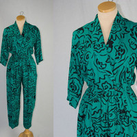 Vintage 1980s Jumpsuit New Wave Green and Black Print Rabbit Designs