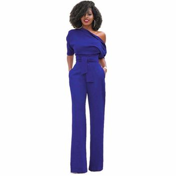 2018 Fashion Off One Shoulder Elegant Jumpsuits Women Plus Size Rompers Womens Jumpsuits Short Sleeve Female Overalls