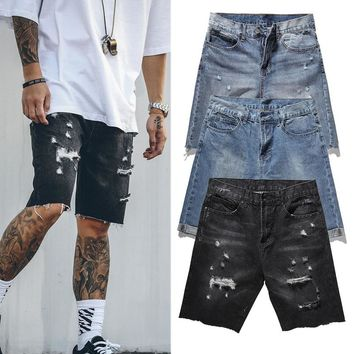 IUURANUS Denim Shorts 2018 New Summer High Quality Casual Jeans Shorts Kanye West Streetwear Hole Destroyed Cargo Jeans Shorts