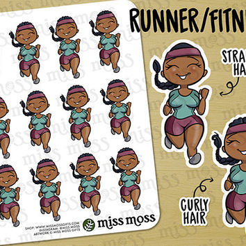 Brown Skin Running Fitness Exercise Gym Planner Stickers, African American Black - Erin Condren, Happy Planner, Kikki K, Filofax, Decorative