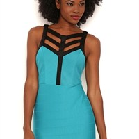 Bodycon Dress with Contrast Caged Bodice
