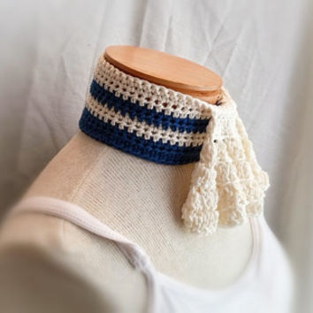 crochet spring ruffle scarf jabot steam punk light cotton button collar cowl neck warmer ascot women's royal blue white