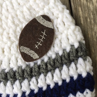 Crocheted Football Team Baby Beanie in Favorite Team Colors, Dallas Cowboys Beanie, NFL, 0-24 months size options, Made to Order - #BB001