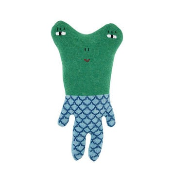 Fergie the Frog - soft knitted toy