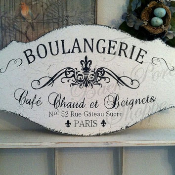 BOULANGERIE - 27 x 14 - French Kitchen Signs - French Bakery - Paris Signs