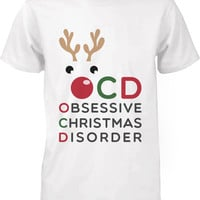 Funny Christmas Graphic Tees - Obsessive Christmas Disorder White Cotton T-shirt