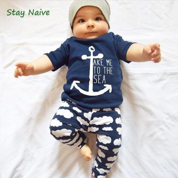 Stay Naive Retail children Europe and the United States summer baby sets sail short-sleeved T-shirt + cloud pants two-piece chil