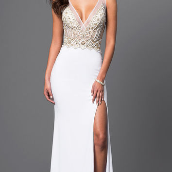 Jewel Embellished V-Neck Gown by Brit Cameron