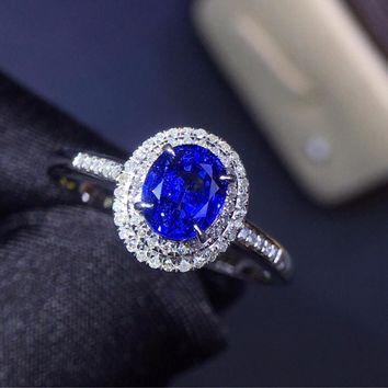 Fine Jewelry Real 18K White Gold 100% Natural 0.9ct Blue Sapphire Gemstone 18k Gold Diamonds Stone Women Ring for Female Rings