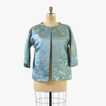 Vintage 60s Brocade JACKET /1960s Blue & Metallic Gold Asian SILK Cropped Evening Coat L