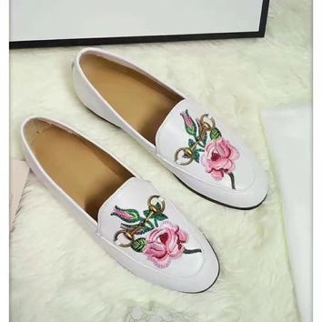 Snakes  Flowers Mouth GUCCI Women Trending Fashion printing Casual Sneakers Sports Shoes White