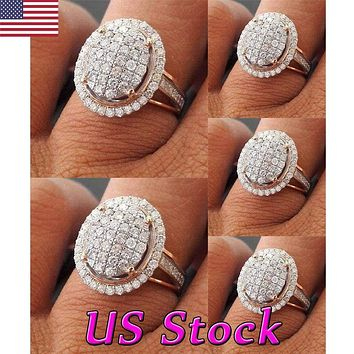 Plated 18k Wedding Engagement Ring Band Set Bridal Oval Rose Gold Size 6-10 USA