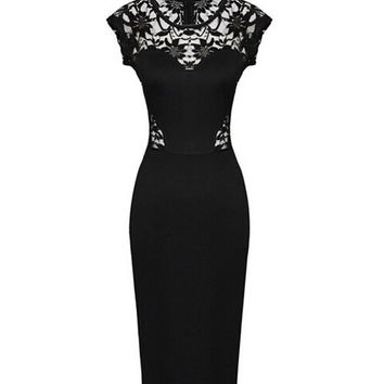 Black Sleeveless V-Neck Lace Maxi Dress