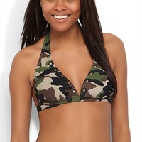 Banded Halter Bikini Top with Camo Print and Studded Neckline
