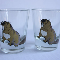 Beaver Shot Glass, Set of 2, Vintage Animal Bar Glasses