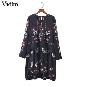 women vintage floral embroidery loose dress loose butterfly long sleeve o neck ladies casual retro dresses vestidos QZ2685