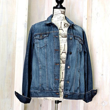 90s denim jacket L /  mens / womens lightweight jean jacket / oversized denim jacket / Eddie Bauer