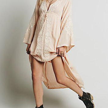 Pink V-Neck Bell Sleeve Embroidered Long Back Dress