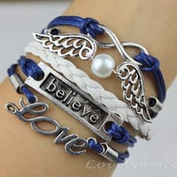 Infinite believe love bracelet, pearl bracelet wings, navy blue, wax rope, women's fashion bracelets