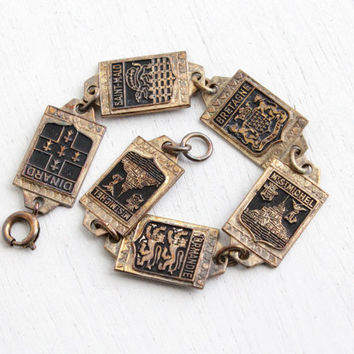 Vintage Brass French Panel Bracelet - 1940s Historical Attractions France Souvenir Black Enamel Jewelry - Mt. St Michel, Normandie, Bretagne
