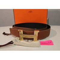 HERMES REVERSIBLE BELT WITH GOLD H BUCKLE 32MM 100 MEDIUM MEN TAN BLACK