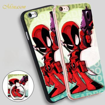 Minason Marvel Deadpool Red Gun Mobile Phone Shell Soft TPU Silicone Case Cover for iPhone X 8 5 SE 5S 6 6S 7 Plus