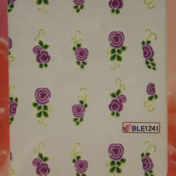 Nail art water decals Floral nail decals Water nail transfers Purple rose decals